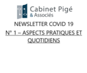 Newsletter COVID-19 n°1 - Aspects pratique et quotidien