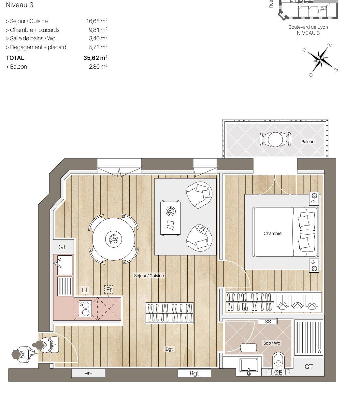 2 Pièces neuf avec balcon - Devenez locataire en toute sérénité - Bintz Immobilier - 2