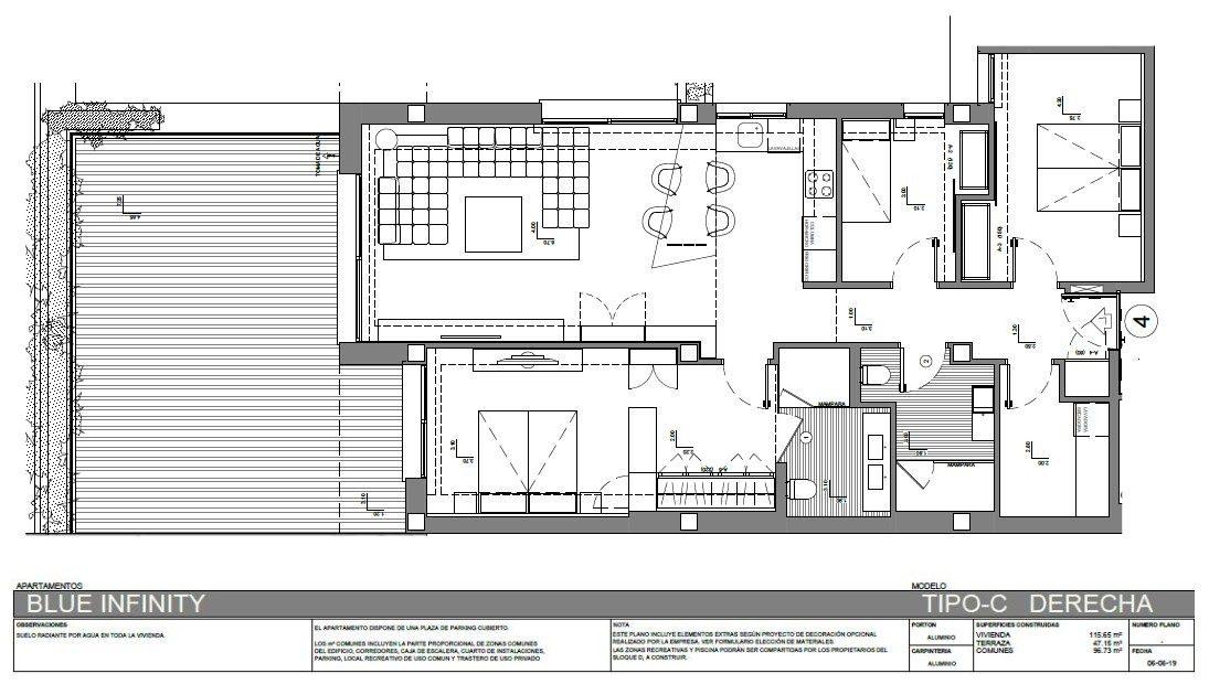 116 m²  4 pièces Appartement