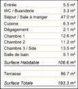 Appartement 107 m² Bordeaux St Genes  4 pièces