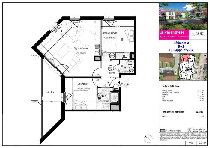 3 pièces 62,33 M² Appartement neuf à voreppe