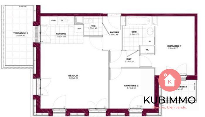 Villennes-sur-Seine  63 m² Appartement  3 pièces