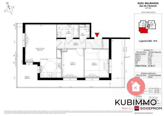 Appartement 3 pièces Rueil-Malmaison  61 m²