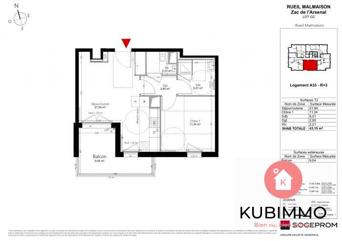 Appartement Rueil-Malmaison  2 pièces 43 m²