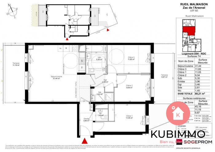 Appartement  Rueil-Malmaison  4 pièces 80 m²