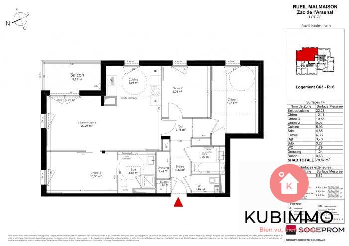 4 pièces 80 m² Appartement Rueil-Malmaison