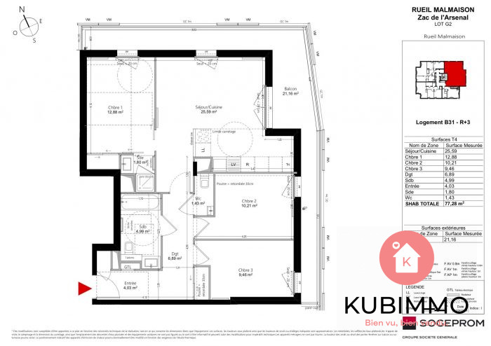 4 pièces  Rueil-Malmaison  77 m² Appartement