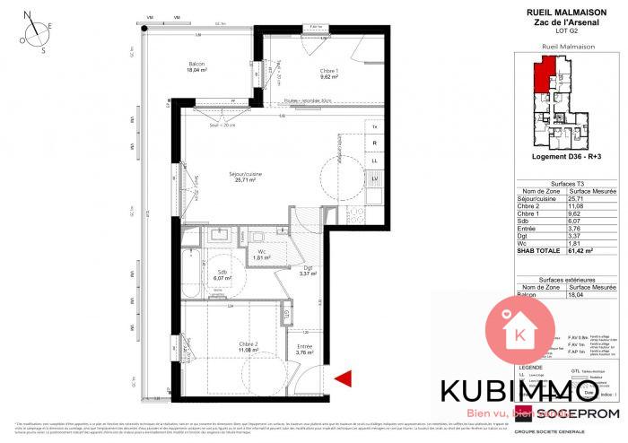 Appartement  Rueil-Malmaison  61 m² 3 pièces