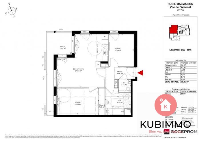 60 m² 3 pièces Rueil-Malmaison   Appartement