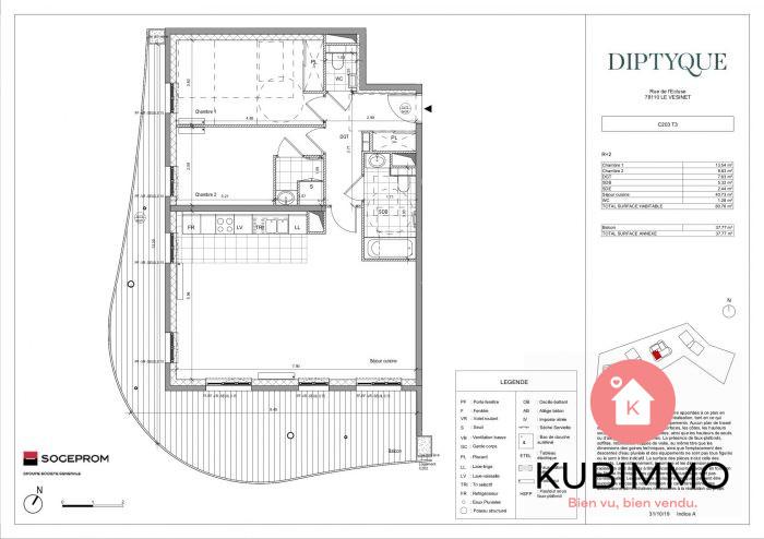 81 m²  Appartement Le Vésinet  3 pièces