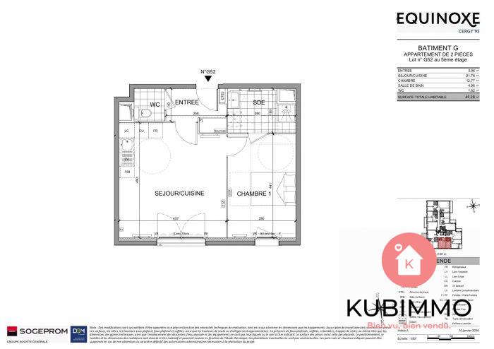 Cergy  2 pièces Appartement 45 m²