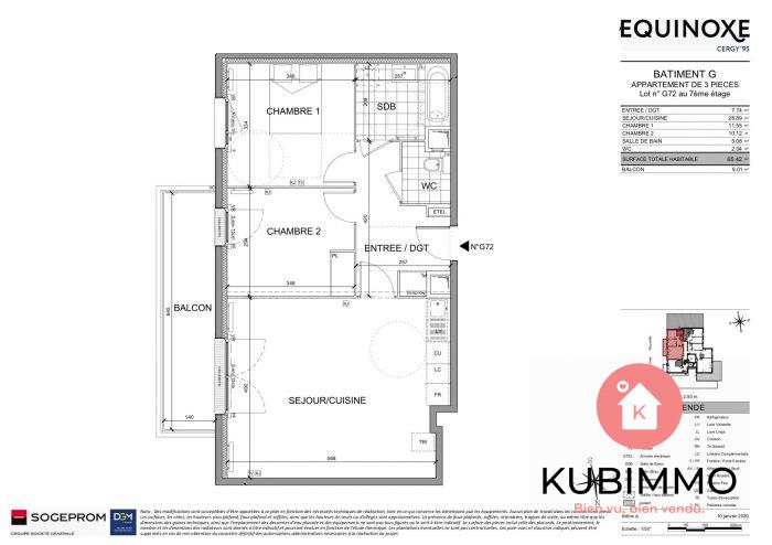 Appartement  65 m² 3 pièces Cergy