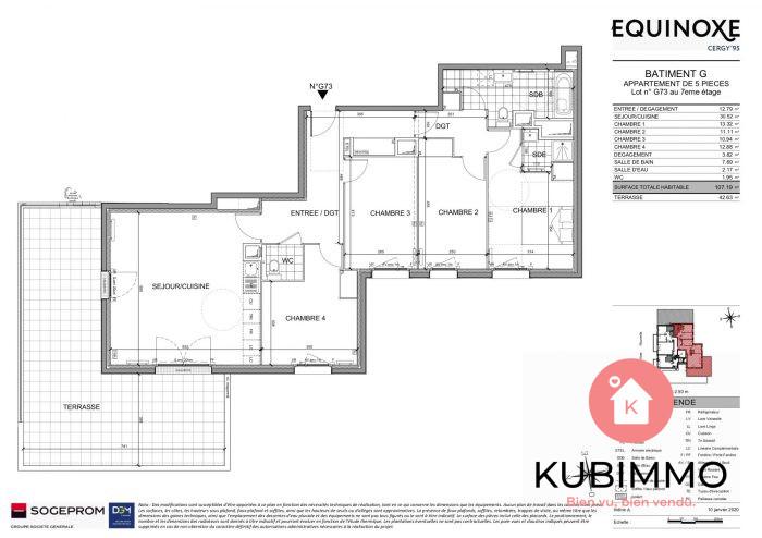 107 m² Appartement 5 pièces  Cergy