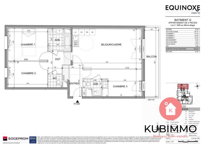 Appartement Cergy  4 pièces  83 m²