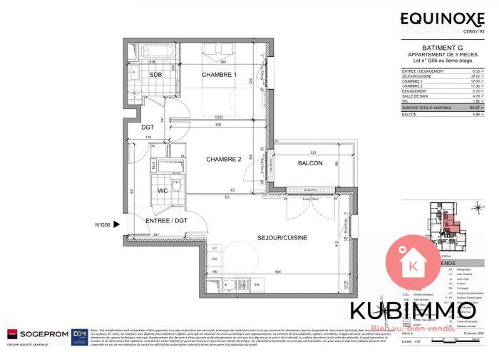 65 m² 3 pièces Cergy  Appartement