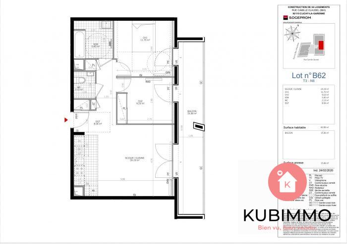 61 m² Appartement  Clichy  3 pièces