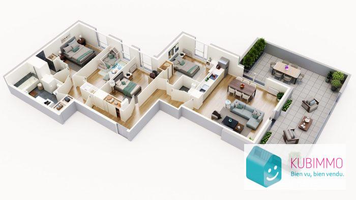 107 m²  Appartement Cergy  5 pièces