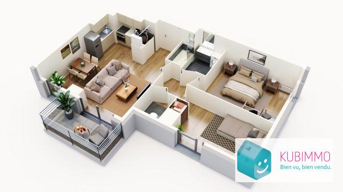 Cergy  60 m²  3 pièces Appartement