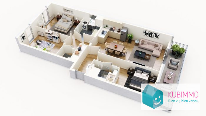 Cergy   84 m² Appartement 4 pièces
